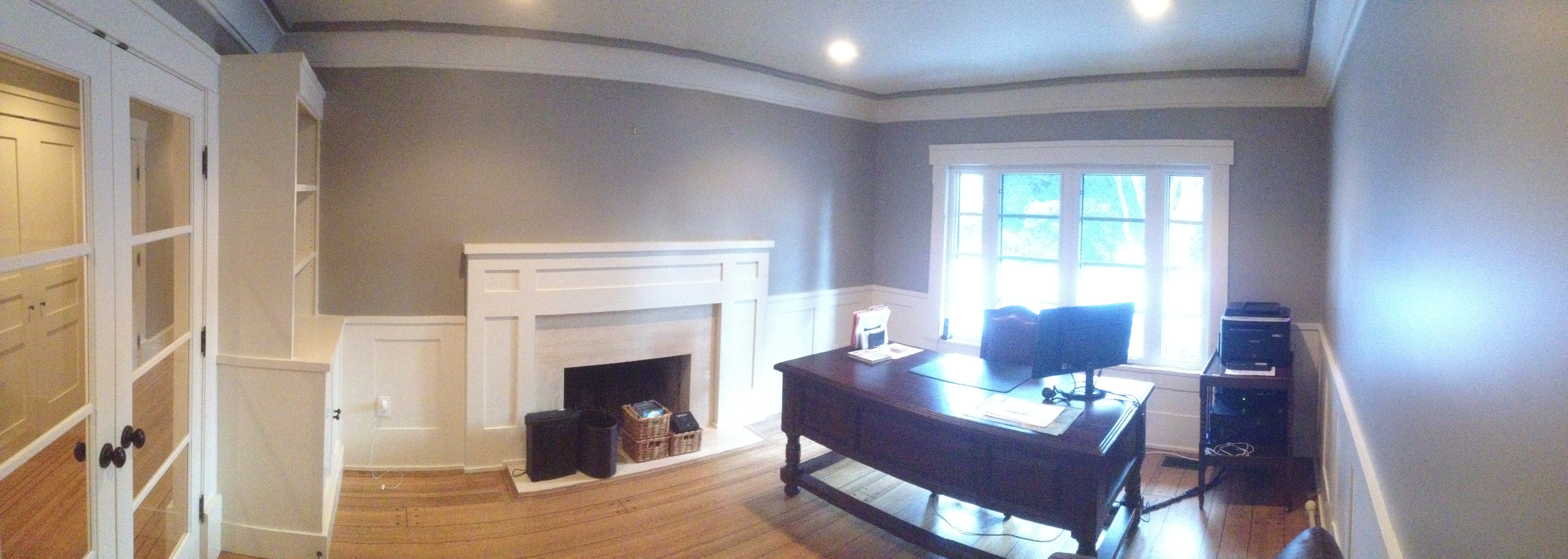 Home Office with Trim and Built Ins