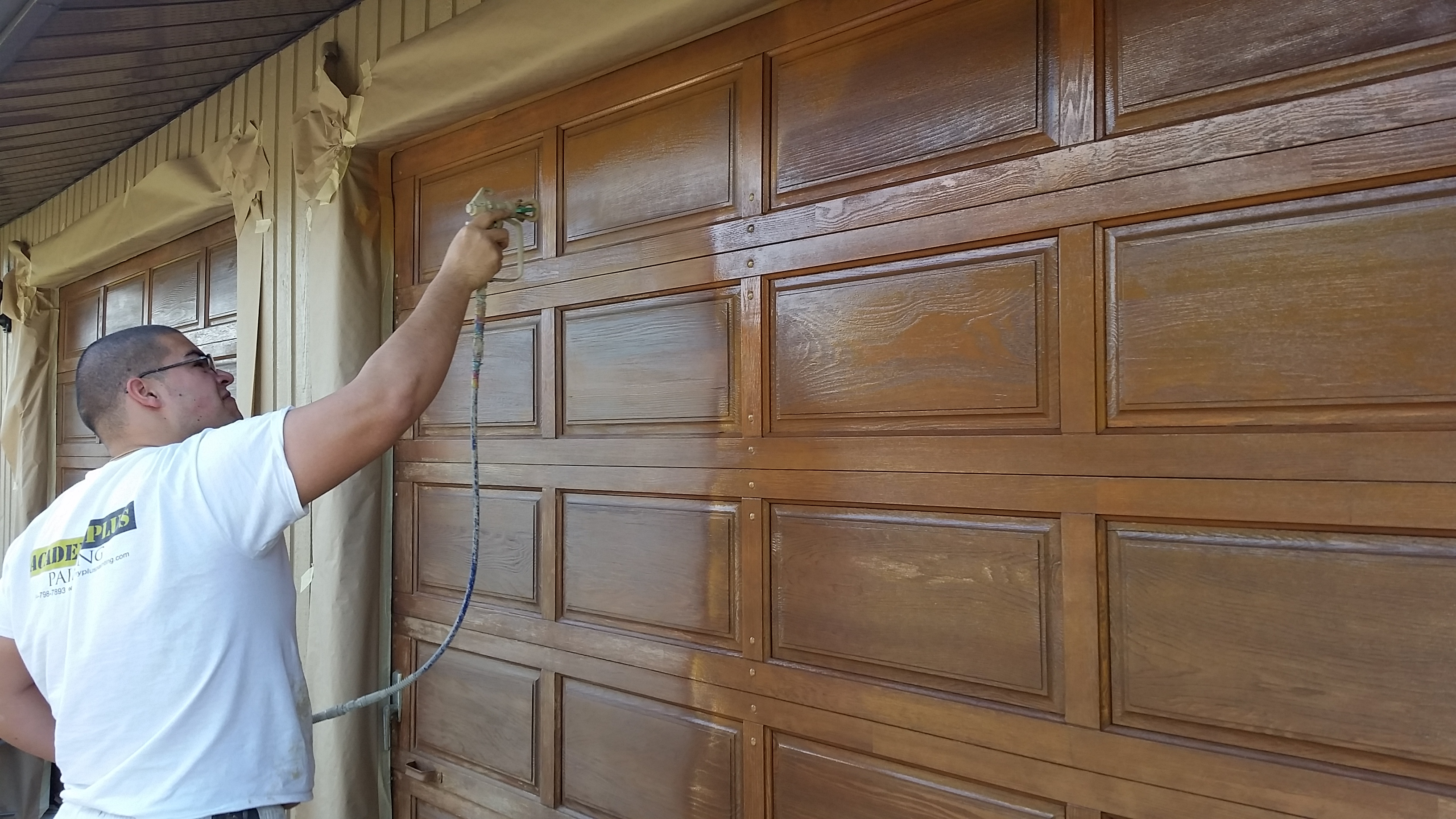 Wood garage door stain academy plus painting for How to stain a wood garage door